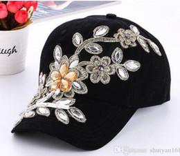 0dd122ee47f DHL Womens Snapback Caps Rhinestone Flower Fitted Baseball Cap Wholesale  Summer Lady Denim Hats Brand New Fashion Hip Hop Cap Sun Hat women discount  ...