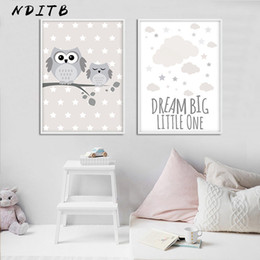 Pittura d'arte del gufo online-Woodland Animal Owl Canvas Poster Nursery Print Minimalist Wall Art Painting Nordic Kids Decoration Pictures Baby Room Decor