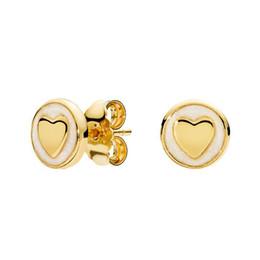 Argentina 18K oro amarillo pendiente del perno prisionero caja original conjunto joyería para Pandora 925 pendientes de plata del corazón para mujeres niñas regalo Suministro