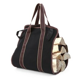 Fogata portátil online-Gran capacidad Registros Carrier Fire Wood Carrier Bag Portátil de cocina Picnic Acampar Chimeneas Estufas de camping Lienzo Tote de madera