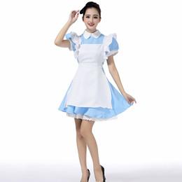 2019 disfraces de carnaval blanco nieve Disfraces de Halloween Maid Womens Adultos Traje de traje de Alicia en el País de las Maravillas Lolita Disfraces Disfraz de Cosplay para Mujer niña