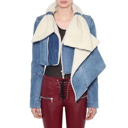 609a0d91ce7 2018 Women Autumn Winter Jacket Coat Bow Shape Collar Slim Short Baseball  Bomber Lamb Fur Lined Denim Jeans Jacket Women Outwear