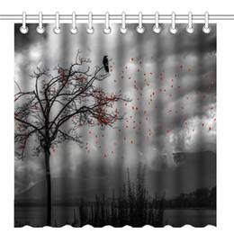 rideaux blanc noir rouge Promotion Arbre abstrait et fantaisie d'oiseau noir blanc et rouge Art, rideaux décoratifs de Bath de tissu de tissu imperméable de polyester