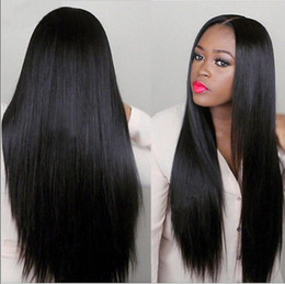 human hair heating Promo Codes - Natural Black Long Straight Full Wigs Human Hair Heat Resistant Glueless Synthetic Lace Front Wigs for Black Women Peruvian Malaysian
