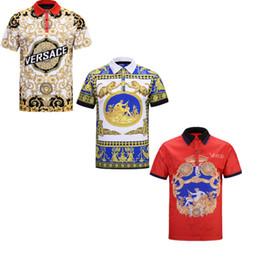 Argentina Hot 19ss Nueva Europa camisa de moda para los hombres casuales polo camisetas bordado de la raya de la marca de impresión de la solapa para hombre polos Tops supplier hot brands men tops Suministro