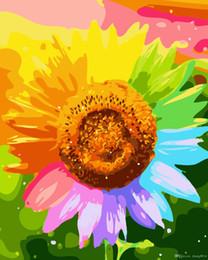 pintura dormitorio principal Rebajas 16x20 pulgadas DIY pintura sobre lienzo por número kits Resumen primavera florecimiento colorido girasoles arte acrílico pintura al óleo Unframe para adultos