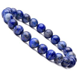 одно каменные украшения Скидка 8mm Natural Lapis Lazuli  Bracelet One Circle Energy Stone Bracelets Men or Women Yoga Meditation Ruiki Jewelry Wholesale