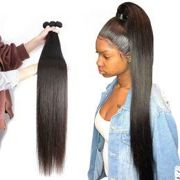 Pedaços de cabelo longo brasileiro on-line-Cabelo de Remy do brasileiro Hetero Virgin maior comprimento 1 Parte brasileira Cabelo Humano Weave Pacotes Natural Color da Mulher Negra