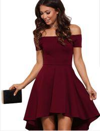 herbst sommer charmante kleider Rabatt Frauen weg von der Schulter Kurzarm über knielangen Partykleider High Low Cocktail Skater Dress
