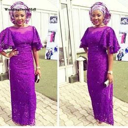 2019 spitzen-nigerian-stil Lila Afrikanische Abendkleider Lange Afrikanische Frauen Stil Abendkleid Ausgestelltes Halbarm Nigerian Afrika Abend Party Kleid günstig spitzen-nigerian-stil