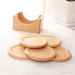hot drink cup holders Promo Codes - Wooden Non-slip Mug Pad Set 6pcs Heat-resistant Coaster Anti Scalding Insulation Mat Cup Pad Hot Drink Holder Table Mat Dish BC BH1614