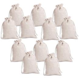 2019 bolsas al por mayor ventana marrón 12pcs Pequeño algodón bolsos de lazo bolsas de la joyería reutilizables de tela de muselina regalo de caramelo del favor de la boda Bolsa de arte de DIY Jabones Hierbas