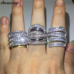 anéis de diamante grande Desconto Choucong 3 Estilos Grande Promise Anel 925 sterling Silver Diamond Engagement Wedding Band Anéis Para As Mulheres Homens Dedo Jóias
