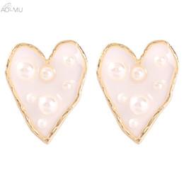 ovale perla di perle Sconti AOMU Fashion Simple Love Pearl Orecchini ovali trasparenti ovali geometrici irregolari per regali da donna Ciondolo per gioielli da festa