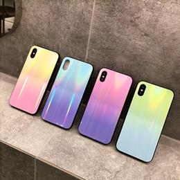 Étui arc-en-ciel iphone bleu en Ligne-Luxe Gradient Couleur Étui En Verre Trempé Pour iPhone 7 8 6 6S Plus Rainbow Bleu Ray Couverture de Téléphone Pour iPhone X xs maxGlitter Cas