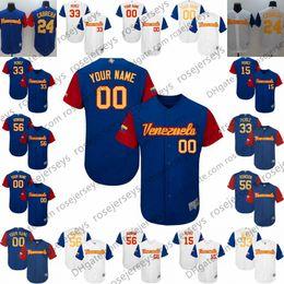 2019 martin beisebol Personalizado Venezuela Azul Branco Jersey 2017 Clássico Mundial de Beisebol # 56 Hector Rondon 33 Martin Perez Qualquer Número Nome homens mulheres juventude kid S-4XL desconto martin beisebol