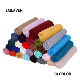 LMLAVEN женские шарфы с блестками сплошной цвет шарф вискоза мусульманский шарфы хиджаб мерцание мода макси шали 30 цвет от