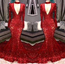 Splendida Sexy Red Sequined 2019 Prom Dresses Scollo AV Manica Lunga Sirena Abiti Da Sera Abito Per Le Donne Sparkly Prom Dress robes de soirée da