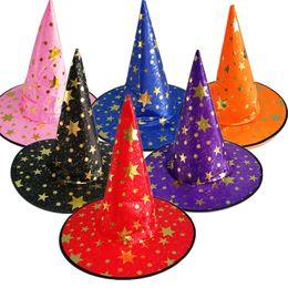 2019 halloween hüte machen Stern Bronzing Print Halloween Cosplay Kostüm Make-Up Party Magier Hexe Hüte Kinder Kinder Erwachsene Kappe Partei Requisiten Caps C590 günstig halloween hüte machen