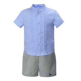 Camisa azul de cuello mandarín online-Pettigirl Summer Boy Conjuntos de ropa Casual Cuello mandarín Camisetas azules y raya Algodón corto Ropa de diseñador para niños BoysB-DMCS004-B2