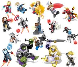 brinquedos do homem-aranha azul Desconto Conjuntos de blocos de construção da maravilha 16 pçs / lote vingadores Infinito Guerra Mini Super Herói Super Herói Thor Hulk Capitão América Figuras Blocos de Construção de Brinquedos