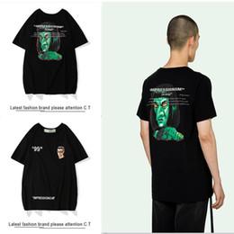 Chemise blanche en Ligne-2019 Mode OFF t-shirt WHITE IMPRESSIONISM diable vert imprimé t-shirt mens designers t-shirt mode printemps été tendance