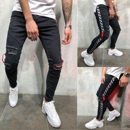 jeans boutique all'ingrosso Sconti Mens Cool Designer Brand Black Jeans Skinny Ankle Zipper Stretch Slim Fit pantaloni Hop Hop con pantaloni a righe laterali per gli uomini