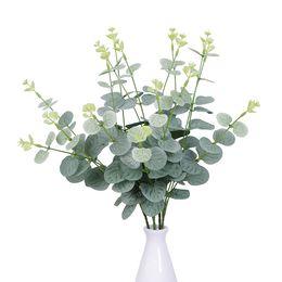 Confezione da 25 pezzi di foglie artificiali foglie di eucalipto vegetale artificiale matrimonio decorazione fiori di seta prezzo all'ingrosso da