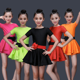 Concorrenza di ballo online-Studenti Bambini Kid Latin Dancewear Competition Dancing Abbigliamento Girl Dance Costume Child Latin Ballet Dance Dress For Girls