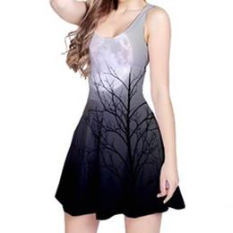 Vestiti da donna sexy di stile di estate 3D stampato con la luce della luna TREE Galaxy Vest Dress Sleeve O Neck Abiti da festa casual cheap summer tree lights da luci di albero estivo fornitori