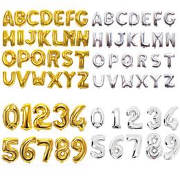Decoraciones de la fiesta de cumpleaños del alfabeto online-Globos de letras de número de 32 pulgadas Película de aluminio Alfabeto de plata dorada Globos de aire Globos digitales Decoración de fiesta de cumpleaños 200 piezas OOA6829