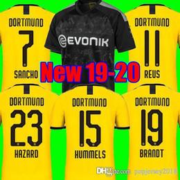 Crianças borussia on-line-2019 2020 Thai Borussia Dortmund Camisas De Futebol GOTZE REUS BRANDT HUMMELS 19 20 PACO ALCACER Camisas de futebol kit TOP camisa MEN crianças conjuntos