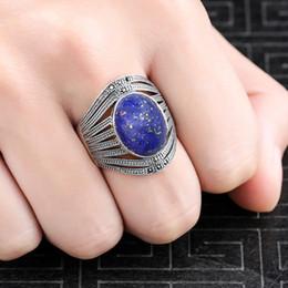 anelli di lapis Sconti 10 * 14mm non è falso S925 argento Asia Lapis anelli anelli esagerati classe superiore Lituania Retro Calcedonio
