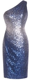 Fazadess mulheres um ombro sem costas de lantejoulas joelho longo Cocktail Prom Party Dress supplier one shoulder prom dresses knee de Fornecedores de um ombro vestidos de formatura do joelho