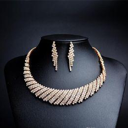 2019 ожерелье аксессуары для женщин Золотой свадебный комплект ювелирных изделий ожерелье и серьги свадебные ювелирные наборы для невесты подружки невесты женщины свадебные аксессуары CPA1875 скидка ожерелье аксессуары для женщин