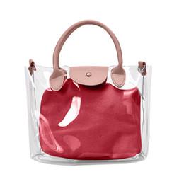 Модные прозрачные сумки для пляжа онлайн-2PC 2019 Summer Bags For Women Fashion New Female Jelly Shoulder Bag Transparent Beach Handbag Waterproof Messenger bag