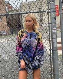 2019 модная одежда для женщин Женщины Trend Midi Кофты Мода Young Street Style пуловер Длинные рукава Hoodie Мода Письмо Printed Outwear Hip-Hop одежды ZX027 дешево модная одежда для женщин