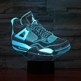 Meninos luzes da noite on-line-Sapatos 3D Candeeiro De Mesa De Cabeceira Nightlight Sensor De Toque 7 Mudança De Cor Da Lâmpada Atmosfera Meninos Caçoa O Presente Usb Led Night Light