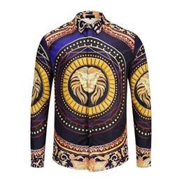 89d47f59a4f0 Wholesale ktv brand-name design clothing men s Galaxy Golden Dragon print  long-sleeved 3d shirt Baroque print Medusa shirt