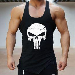 camisetas sin mangas para hombre Rebajas Skull Gym Camiseta de algodón de los hombres Tank Tops Hurdles Singlets Culturismo Chaleco de ejercicio Ejercicio físico Sin mangas para hombre T-shirt