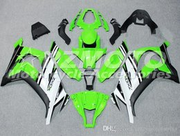 Nuevos carenados de motocicleta de inyección de ABS aptos para kawasaki Ninja ZX10R 2011 2012 2013 2014 2015 11 12 13 14 15 conjunto de carenado de plástico verde blanco desde fabricantes
