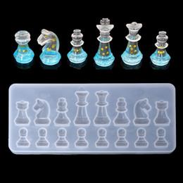 Silikonformen für harz online-Internationale Schachform Silikonform DIY Ton UV Epoxidharzform Anhänger Formen für schmuck