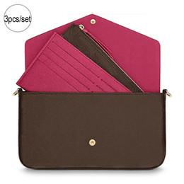 Conjuntos de bolsos online-Diseñador de bolsos de lujo monederos de alta calidad 3 unids / set diseñador de hombro marca bolso 2019 marca moda diseñador de moda bolsos tamaño 21/11 / 3cm