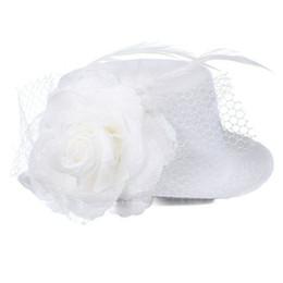 2019 mini cappelli da cerimonia nuziale Cerimonia nuziale di Fascinator della clip del fiore del cappello superiore del mini della piuma bianca sconti mini cappelli da cerimonia nuziale