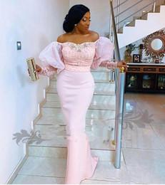 2019 nigerian sexy lace vestidos de noite 2020 nigerianas Mermaid Dresses Prom fora do ombro rendas frisado cetim Puff mangas Sexy Abertas Ocasião Voltar Especial vestidos de noite formal do partido nigerian sexy lace vestidos de noite barato