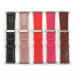 Diseño de banda de reloj online-Diseño de marca Bandas de cuero para Apple Watch Band 42 mm 38 mm para iwatch 1 2 3 4 bandas Correa de cuero 40 mm 44 mm
