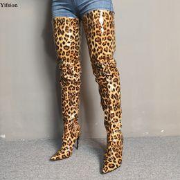 2020 туфли на высоком каблуке размер 15 Olomm Новые женщины бедренной кости высокие блестящие сапоги шпильках Высокие каблуки сапоги острым носом Super Sexy Leopard Party ботинки женщин США Размер 5-15 дешево туфли на высоком каблуке размер 15