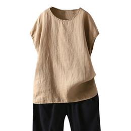 Pantaloncini di lino donna online-2019 Womens Casual Loose Linen Plus Size Solido manica corta Tanic Camicetta Camicetta Top in poliestere di alta qualità sciolto nuovo 524