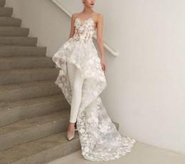 2019 vestidos de novia únicos de invierno 2019 tallas grandes boho una línea de bohemio monos altos vestidos de novia vestidos de novia Abendkleider Vestido De Novia 3D-Floral Apliques