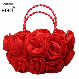 saco de embreagem de flor de cetim vermelho Desconto Boutique De Fgg Flor Vermelha Rose Bush Mulheres Cetim Bolsa de Noite Frisada Handle Tote Bolsa de Casamento Bolsa de Noiva Embreagem Y190626
